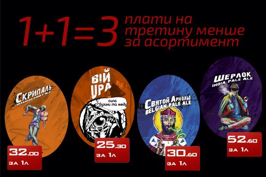 Акция в Тандем Пивомаркет 1+1=3 с 20 июля 2020 года на четыре сорта пива